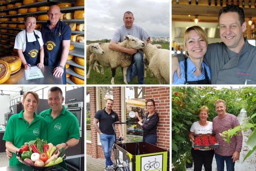 V.l.n.r.: boven De Kaastobbe, Liemers Lam, Een Mooie Dag. V.l.n.r.: onder De Groene Schuur, Liemers Fietsen en Wilting Groente & Fruitkwekerij.