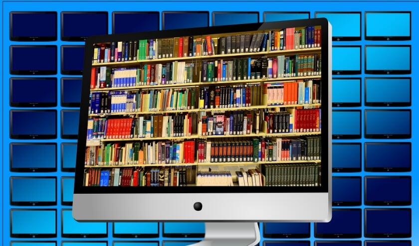Een bibliotheek op een beeldscherm