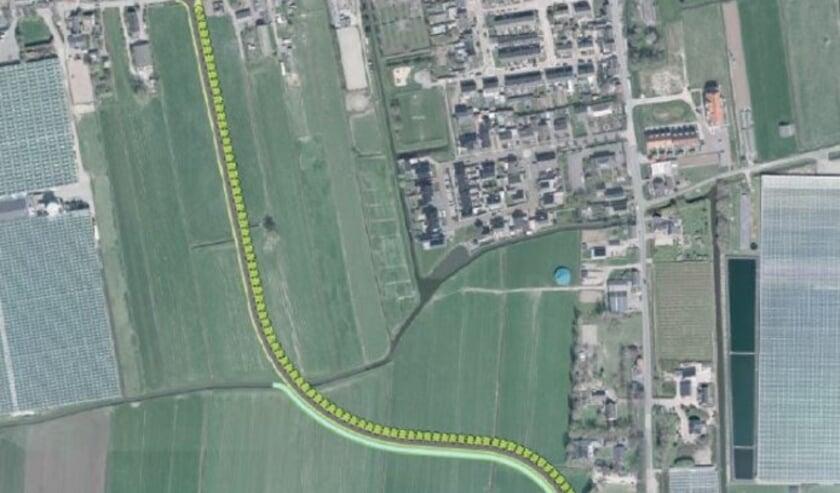 Het tracé van de rondweg loopt door de weilanden.