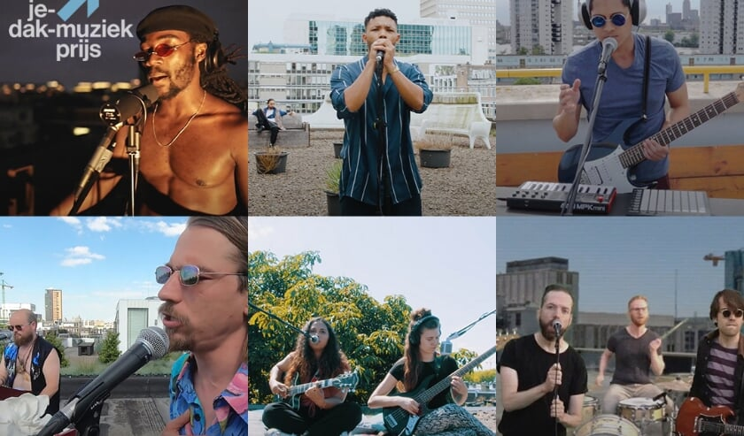 De winnaars van de Uit-je-dak-muziekprijs. Met de klok mee: Troy Dominiq, Sammie Sedano, Darren Gardner, Jessy Yasmeen en I Am Lotus.