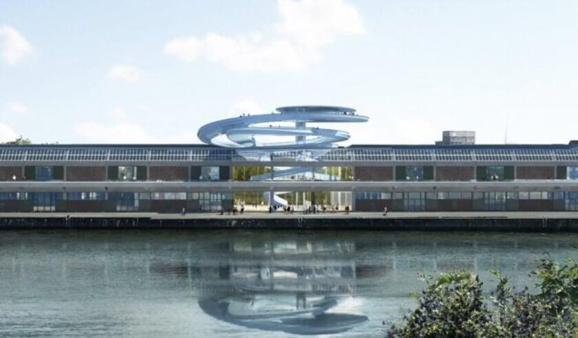 Artist impression van het Landverhuizersmuseum dat in aanbouw is, ontworpen door het Chinese Mad Architects.