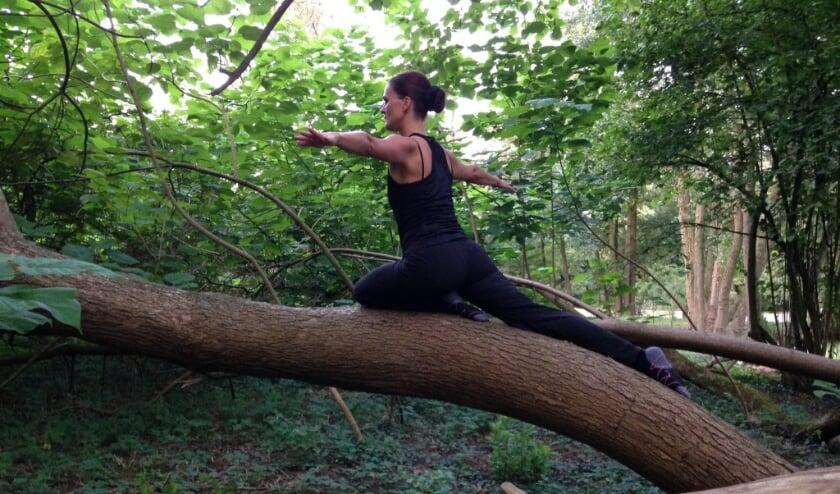 Yoga in het bos.