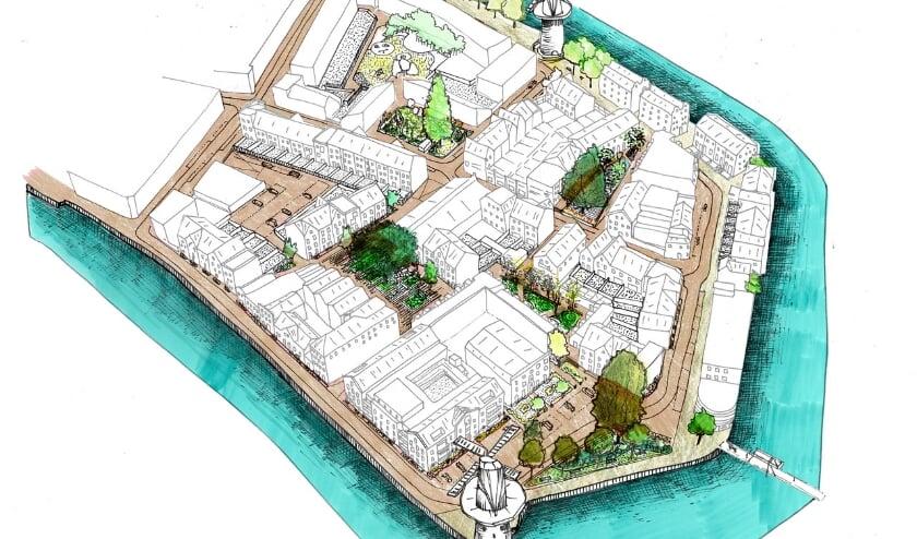 <p>Een schets van de invulling van de nieuwe wijk Dirkzwager-Schiedam, waar op de Nieuwbouwdag een speurtocht wordt gehouden. (Foto: Priv&eacute;)</p>