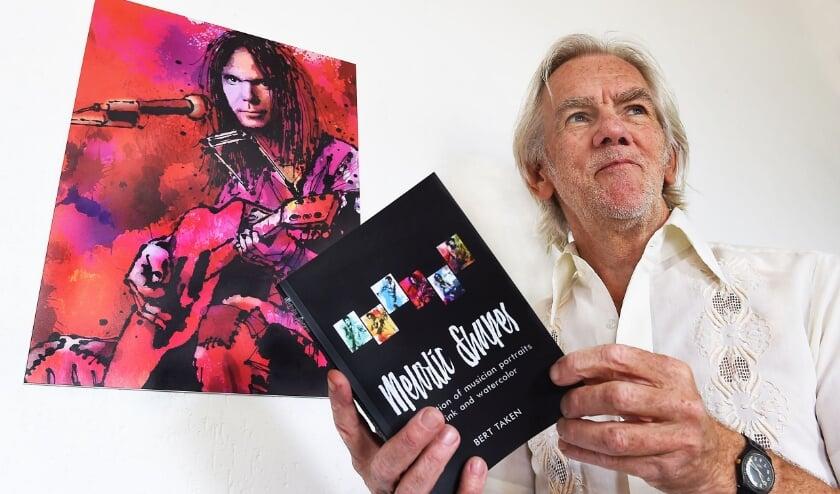 Bert Taken portretteerde Neil Young en andere rocksterren, deze zijn gebundeld in het boekje Melodic Shapes. Foto: Roel Kleinpenning