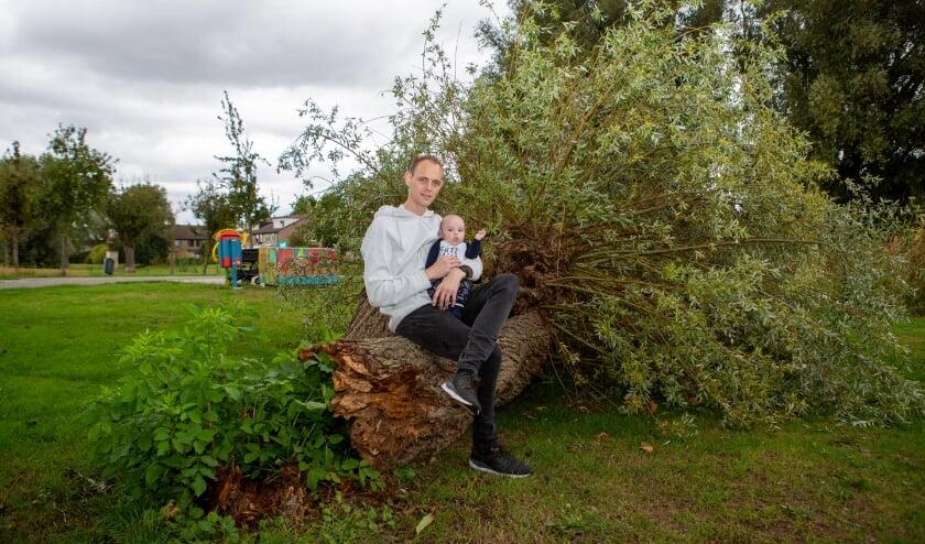 Vincent Hoogstraten en zijn zoon Dex bij de omgewaaide boom.