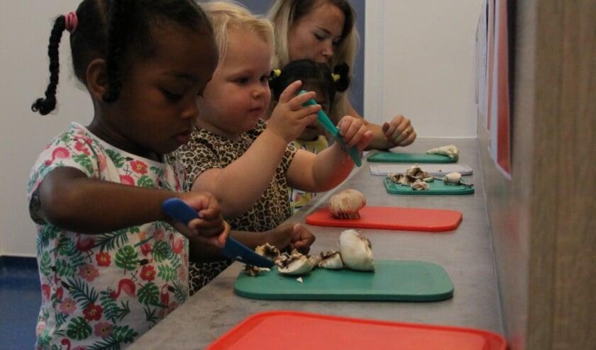 De dreumesen en peuters van kindcentrum De Rakkers gaan samen op culinaire ontdekkingstocht. (Foto: Privé)