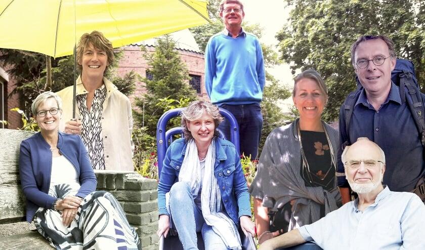 V.l.n.r.: Agnès Gilles, Anne Verbaan, Roos van Doorn, Gilles Ampt, Loeki van der Laan, Garbrich Baalbergen (staand) en Jan Heine (zittend)