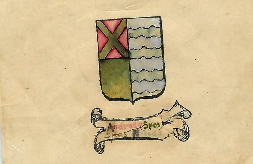 De tekening van het originele ontwerp van het Wapen van Groessen, gemaakt door de Groessense theoloog Jan Wolters (1907-1994).