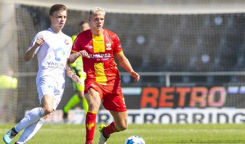 Luuk Brouwers was een van de nieuwelingen die zijn eerste wedstrijd-minuten maakte in het shirt van Go Ahead Eagles.