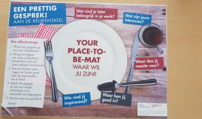 Onderschat het belang van de ouders niet!  De VO-Raad ontwikkelde een placemat met tips voor een prettig gesprek aan de keukentafel over de keuze van een vervolgopleiding.