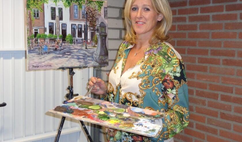 """De vismarkt in Domburg. Voor Margo van Eekert tot nu toe het mooiste schilderij wat ze volgens de """"plein-air""""-techniek heeft gemaakt."""