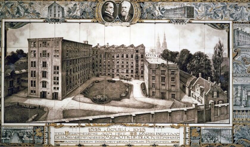 <p>Tableau van het 60-jarig jubileum van Sigarenfabriek Mignot en De Block in 1918.</p>