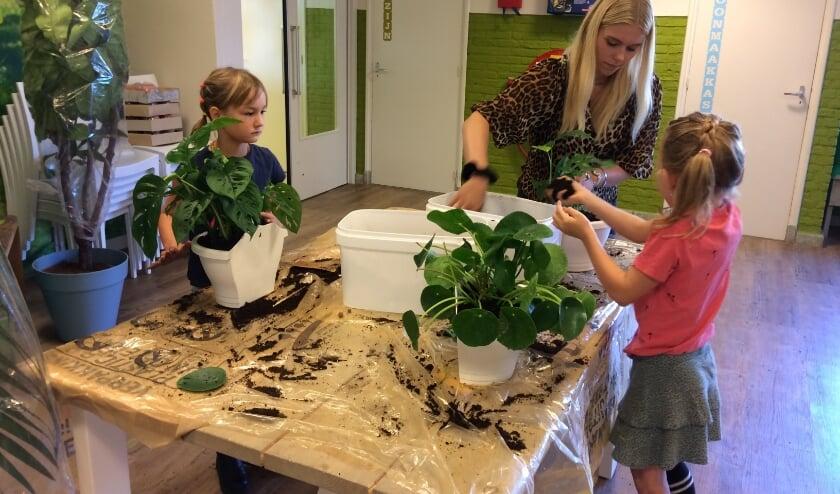 Leerlingen helpen bij het planten