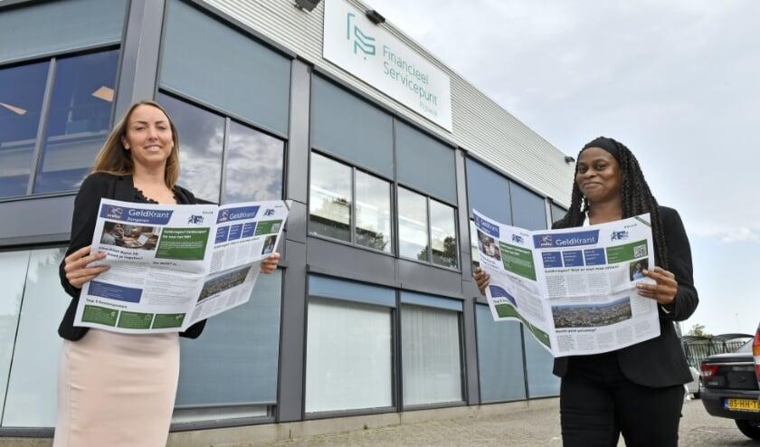 <p>Larissa Bentvelzen, wethouder Werk en Inkomen en Jasmina Summerville , consultent FSP met de Geldkrant </p>