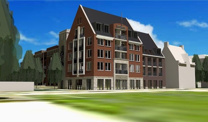 <p>Visual van de bouwplannen op de hoek van de Hoofdstraat/Spoorweglaan.&nbsp;</p>