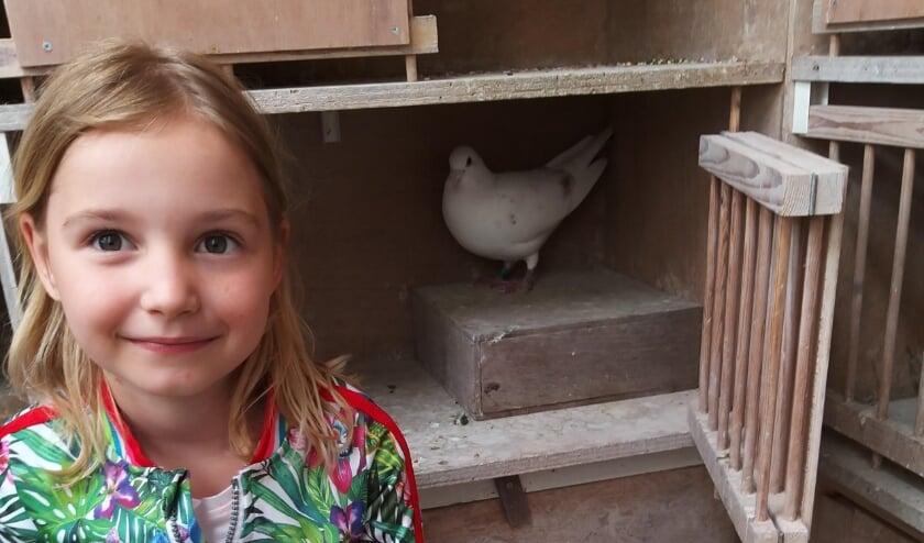 Isa, dochter van Hugo Schipdam met de prijswinnende duif.