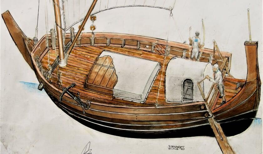 <p>gesigneerde 3D tekening van Caudicaria Navis van Robbert Das.</p>