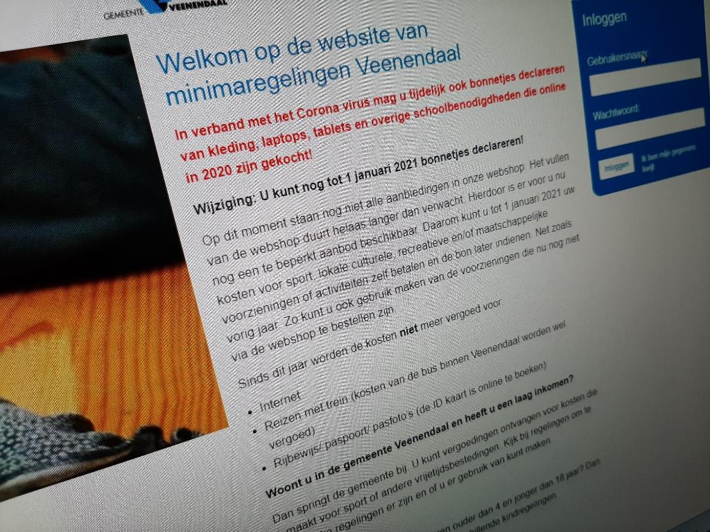 <p>De website van de gemeente Veenendaal waar mensen met een laag inkomen gebruik van kunnen maken zit nog vol met fouten.</p> <p>Foto: De Rijnpost</p> © DPG Media