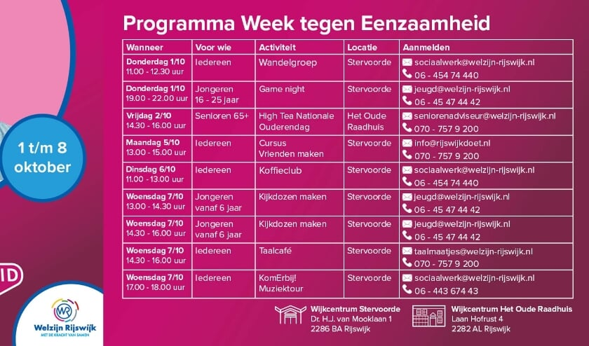 activiteiten Week tegen Eenzaamheid