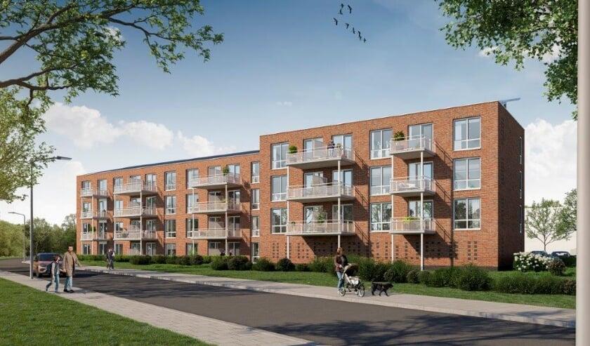 <p>Er is begonnen met de bouw van 29 sociale huurwoningen op locatie voormalige Gerardusschool. Foto: PR</p>