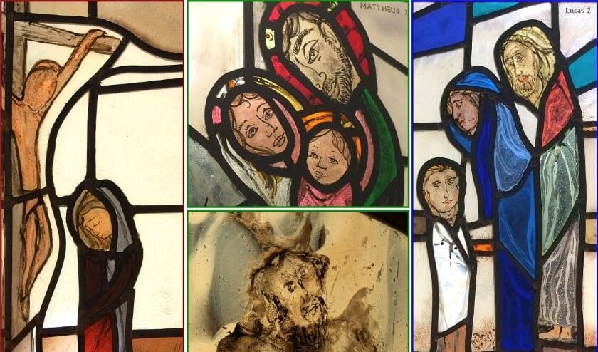 Collage van de 4 essenties uit de gebrandschilderde glaspanelen. (Foto: Privé)