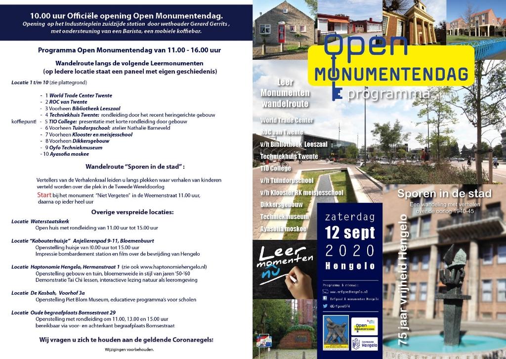 programma en poster Open Monumentendag 12 september Foto: Hans Beerens © DPG Media