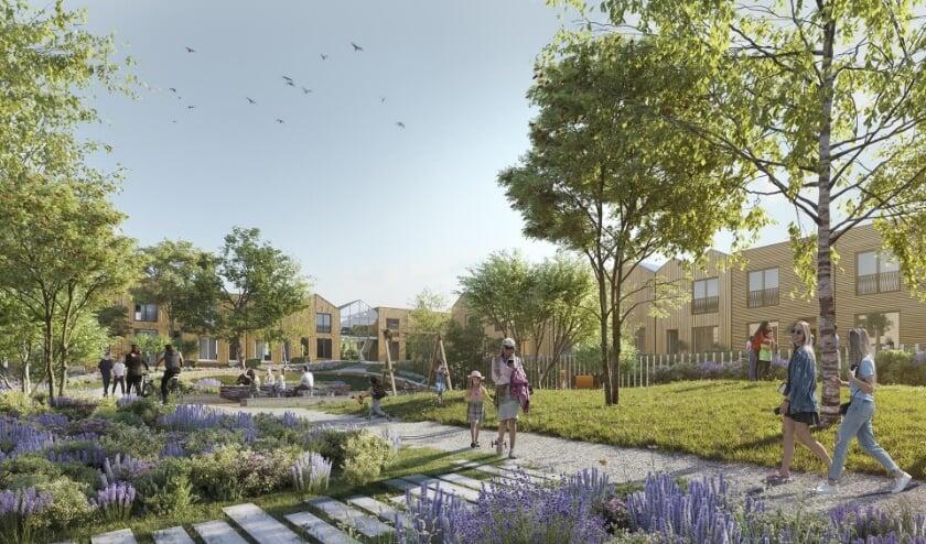 <p>Centraal in het plan staat de gemeenschappelijke binnentuin die bewoners stimuleert tot het verblijven in de buitenlucht. Beeld: AM</p>