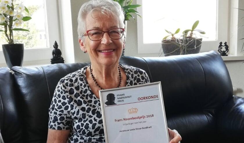 Lenie Stroo-Goedhart won in 2018 de Frans Naerebout Prijs als vrijwilliger van het jaar. Foto: Conny den Heijer