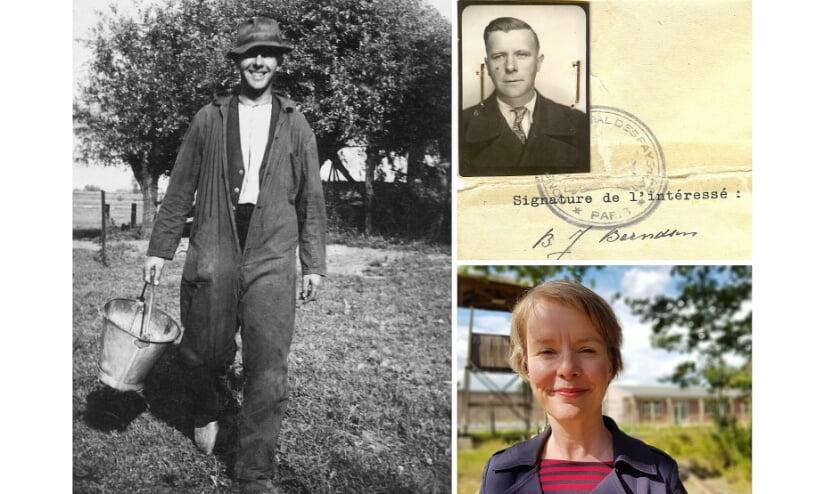 <p>Links: Bernard Berndsen op zijn boerderij in de Middelwaard bij Loo, in het begin van de oorlog. Rechtsboven: het document waarmee Bernard in 1945 van Frankrijk naar Nederland reist. Rechtsonder: Wilma van den Brink bij Kamp Vught. (Foto Christian van der Ven)</p>