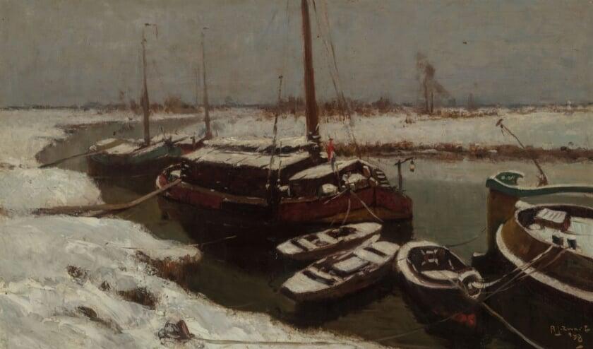 <p>&lsquo;Turfschepen in de sneeuw&rsquo; geeft een winters beeld van de Loswal in Hattem. (Foto: Voerman Museum Hattem)</p>