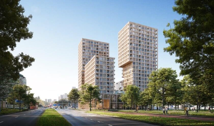 <p>Artist impression van het woningbouwplan voor de Hoofdweg 480-490 in Prins Alexander in Rotterdam</p>