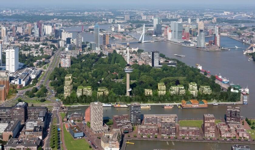 <p>Zo moet Parkhaven er straks uitzien, met woningbouw aan weerszijden van de Euromast.</p>