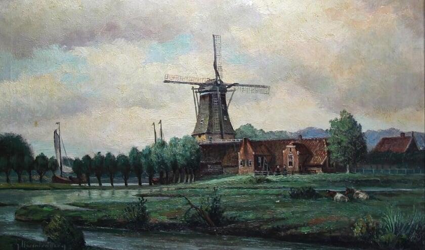 <p>De Pelmolen vanaf de Regge, een van de vele schilderijen van Gerrit Kwintenberg die hij maakte van Rijssen en omgeving. (Foto: Jan Joost)</p>