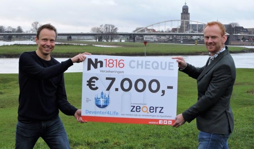 <p>Arne van de Graaff overhandigt de cheque aan Erik During. &nbsp;Stichting Deventer4life wil zoveel mogelijk geld ophalen voor het Kenniscentrum Oncologie. (foto Karin van de Graaff)</p>