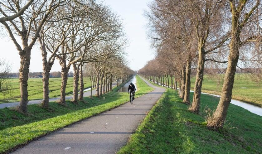 Fietser klimt dijk van de polder Purmer ten noorden van Amsterdam in Nederland op fietspad.