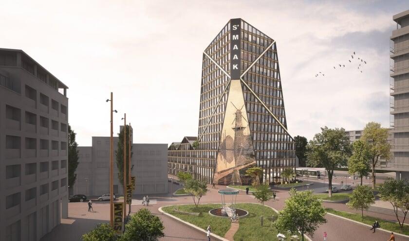 <p>s&rsquo;MAAK geeft Schiedam de iconische stadsentree waar zij recht op heeft als historische jeneverstad met de hoogste molens ter wereld. (Foto: Priv&eacute;)</p>