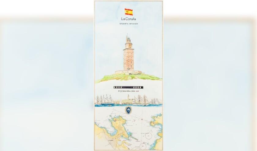 <p>Torre de Hercules; Pen/Aquarel Maarten Groot.</p>