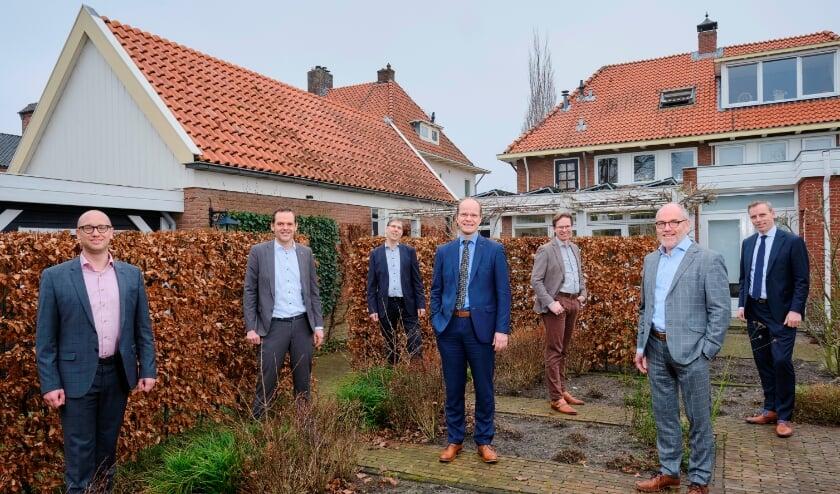 De aandeelhouders van Quadraat Projectmanagment van links naar rechts: Geert Jan Rozendaal, Jan Henk Brokelman, Matteo de Visser, Bram Quaak, Jan Pas, Chris Baggerman en Carel Smits.