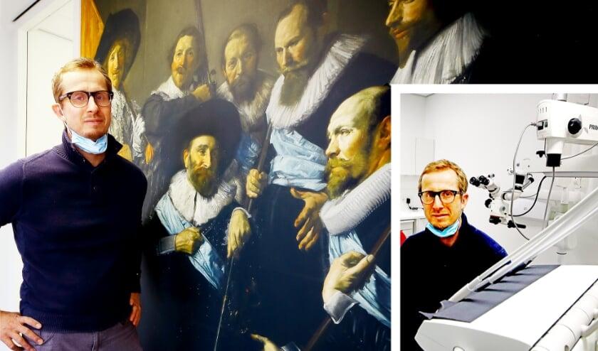 <p>Marc Kollenhof bij een van de grote kunstwerken in zijn praktijk. Kunst speelt een belangrijke rol in zijn leven en het was heel vanzelfsprekend dat hij zijn praktijk daarmee zou opvrolijken. (Foto: Jan Broekman)</p>