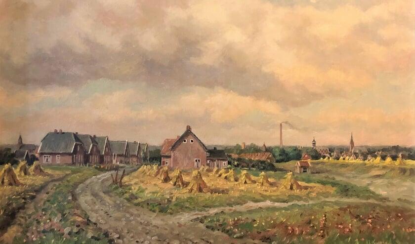 <p>Kwintenberg schilderde de huidige hoek Esstraat-Wijnand Zeeuwstraat eind jaren vijftig, gezien vanaf de watertoren.</p>
