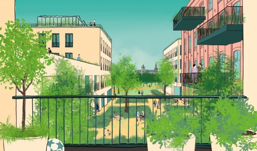 <p>Deze impressie liet de gemeente eerder maken, om een indruk te geven van een mogelijke nieuwe stadswijk rond station Oost.</p>
