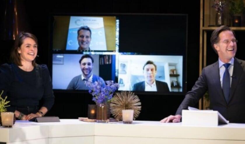 <p>Minister-president Mark Rutte en staatssecretaris Stientje van Veldhoven waren aanwezig tijdens de digitale prijsuitreiking.</p>