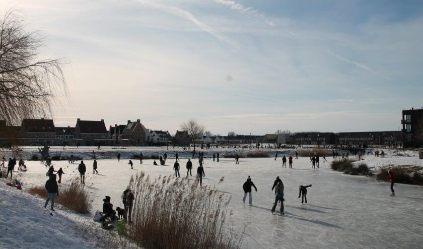Drukte in Culemborg met schaatsen