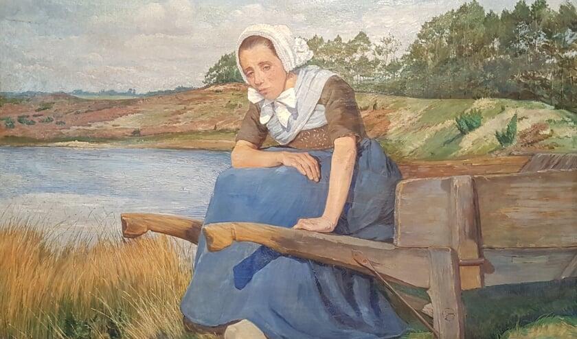 <p>Grietje dan op het schilderij &lsquo;Rustende boerin op kruiwagen&rsquo;. (Foto: Voerman Museum Hattem)</p>