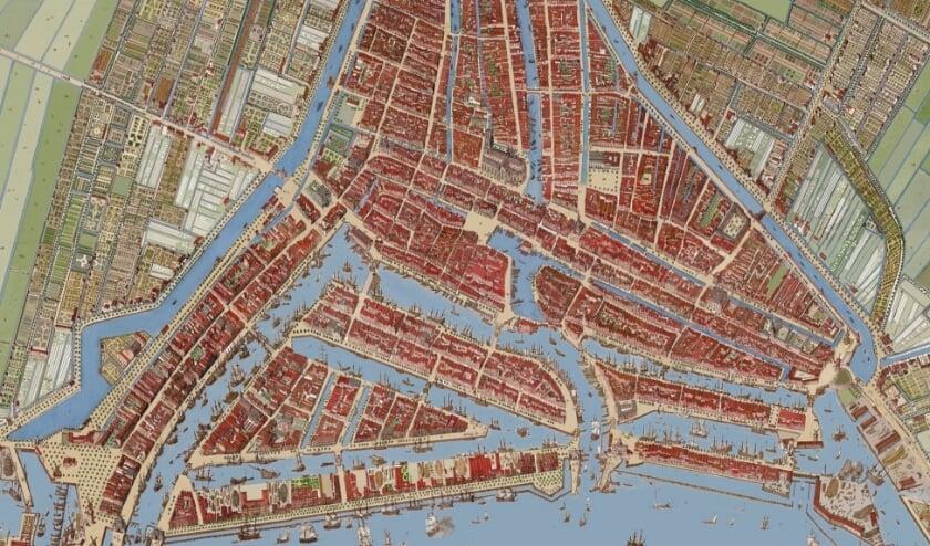 <p>Rotterdam in 1649, vlak na de bloeiperiode in de Gouden Eeuw waarin de stad enorm was gegroeid. &#39;Je ziet goed hoe dichtbebouwd Rotterdam in die tijd was, met die kleine huisjes rug aan rug.&#39;</p>