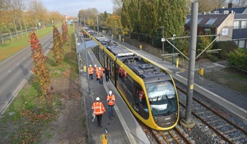 <p>Een eerdere testrit met de nieuwe tram in Nieuwegein. &nbsp;</p>