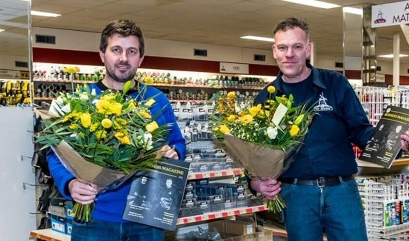 <p>Alex van Erven (Bouwmarkt De Meule) en l. Everhard Polinder (Bouwbedrijf van Boven).</p>