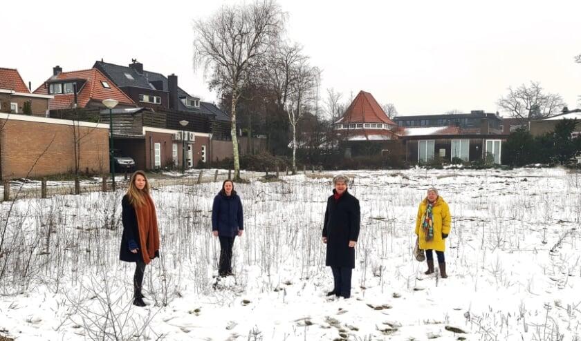 V.l.n.r.: Gemeenteraadsleden Anne Marie 't Hart (GroenLinks), Margriet van de Vooren (CDA), Christiaan van Nispen tot Sevenaer (VVD) en Hanneke de Zwart (D66).