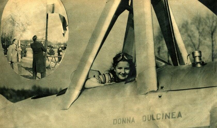 <p>Pineke Misset poseert in de autogiro Donna Dulcinea, een voorloper van de helikopter (Bron: vermoedelijk Achterhoek in beeld, collectie Peter Groeskamp)</p>
