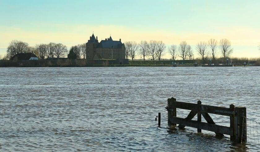 <p>Inundatie nabij Slot Loevestein.</p>